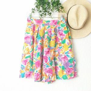 80-90s Vintage Floral Shorts/Short/Mini Skirt S/M